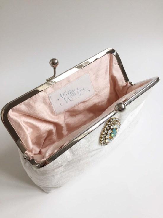 handmade silk bridal clutch bag
