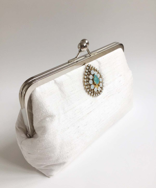 handmade silk bridal clutch bag