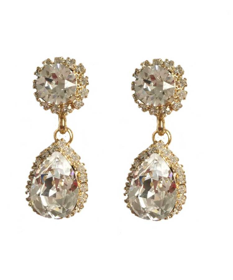 gold swarovski chandelier drop earrings