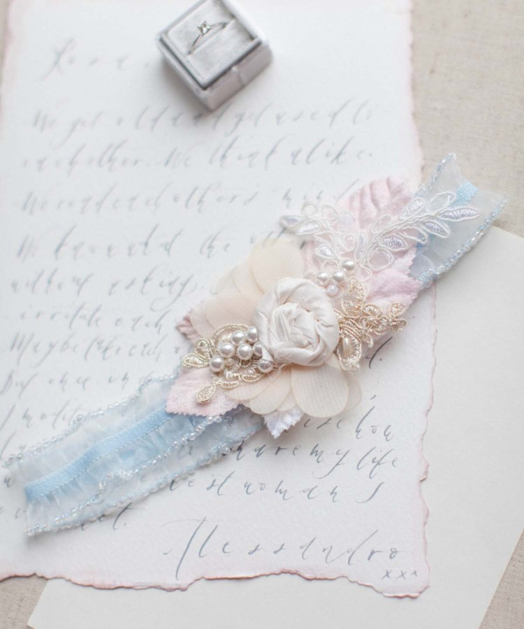 forget me not blue wedding garter