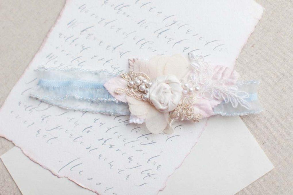 forget me not blue wedding garter