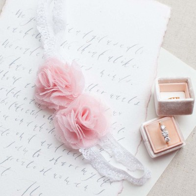 blush pink roses wedding garter belt