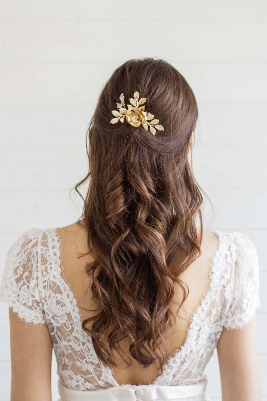 Large Gold Flower Wedding Hair Comb