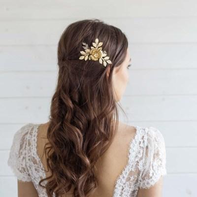 Large Gold Flower Wedding Hair Comb