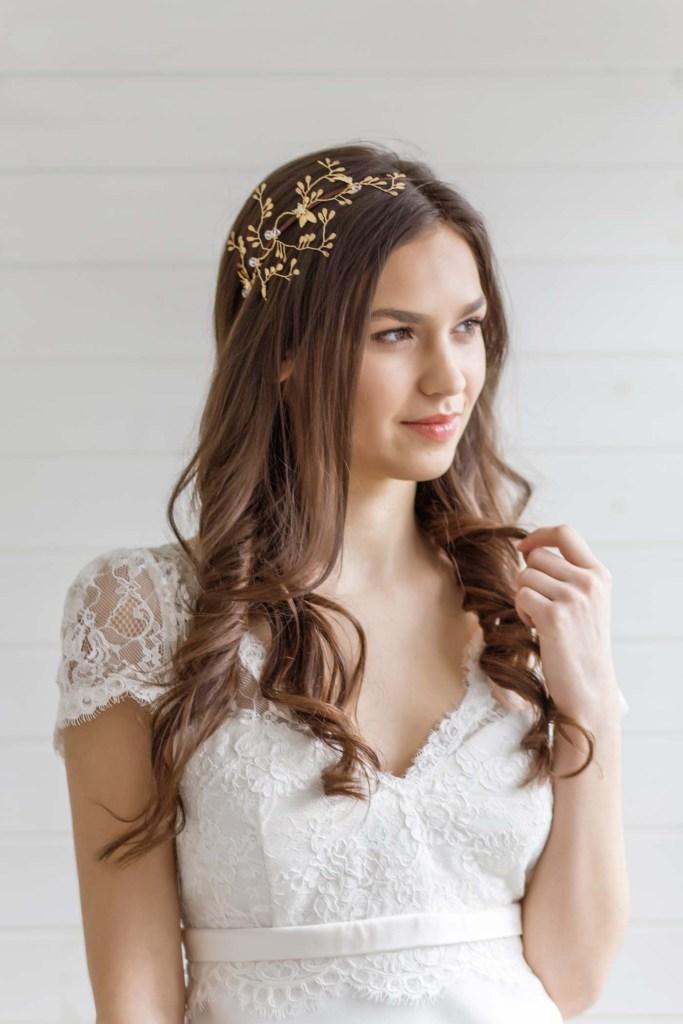 Astilbe Gold Wedding Bridal Headpiece