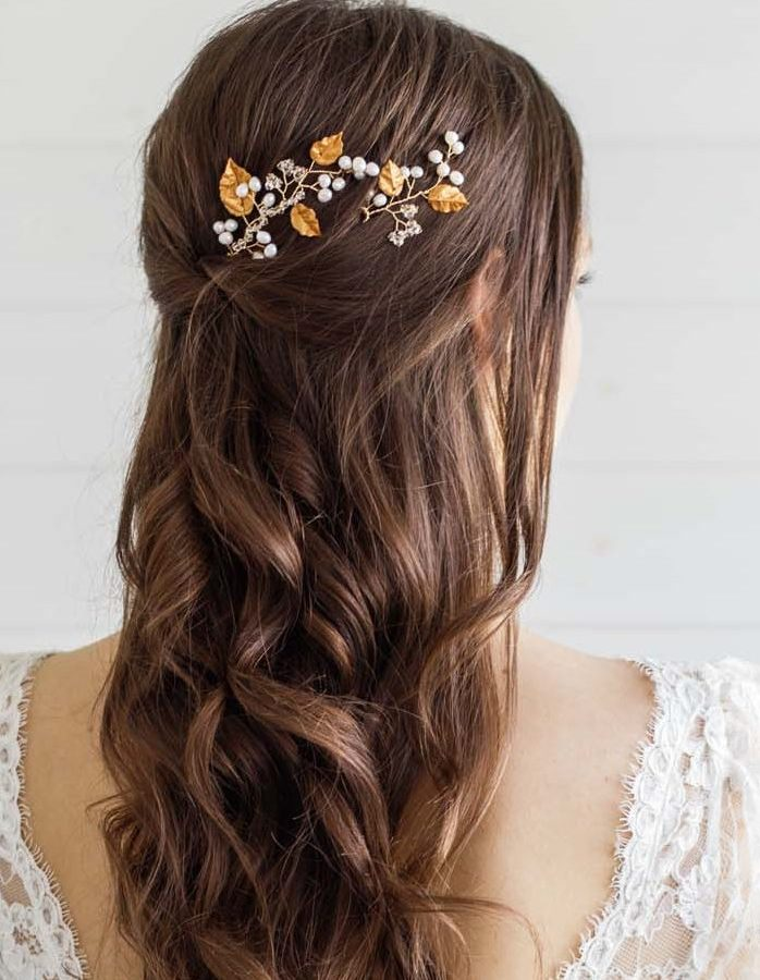 Gold Leaf Wedding Hair Pins