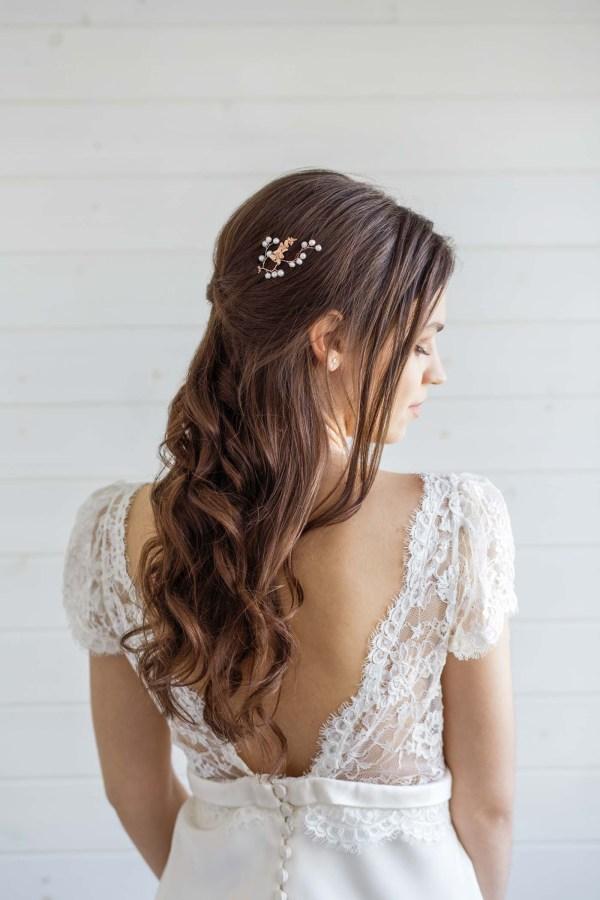 orchid bridal hair pin