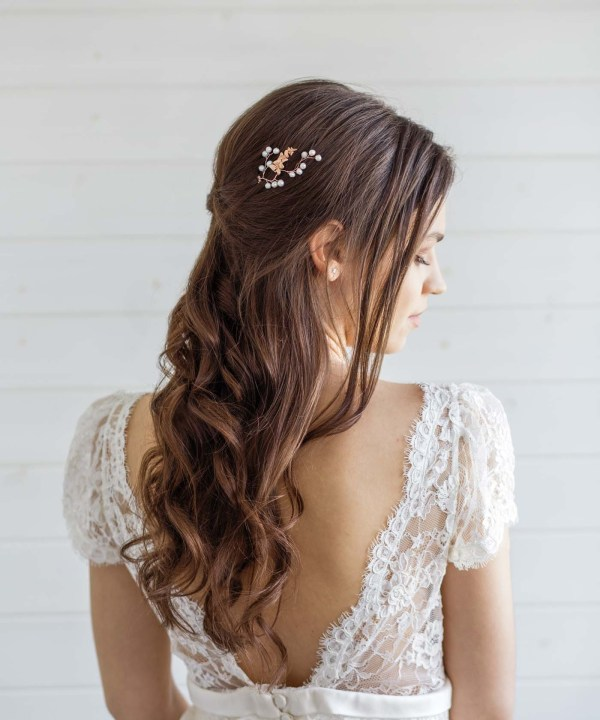 orchid bridal hair pin