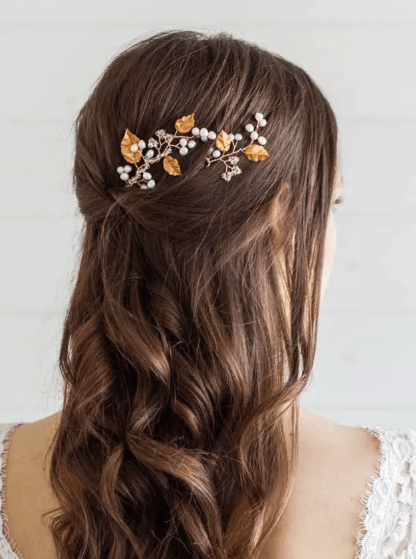 half up half down wedding hair pins