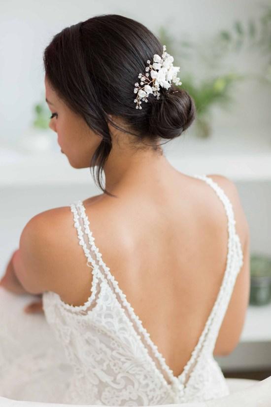 Alyssa clay flower wedding hair comb