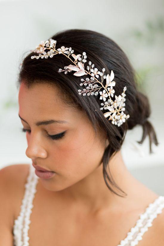 Celine Gold Wedding Hair Vine