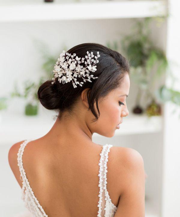 Esmerelda Statement Silver and Ivory Wedding Hair Comb