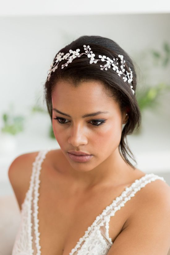 Lorinda Silver and Ivory Handmade Wedding Hair Vine