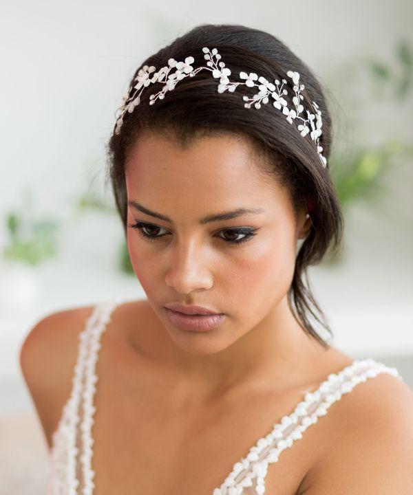 Lorinda Silver and Ivory Handmade Wedding Hair Vine