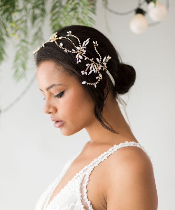 Zoe Statement White Opal Wedding Headpiece
