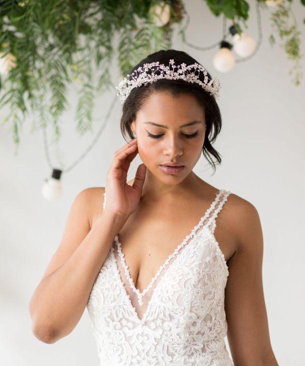 Rania Silver Crystal Bridal Tiara