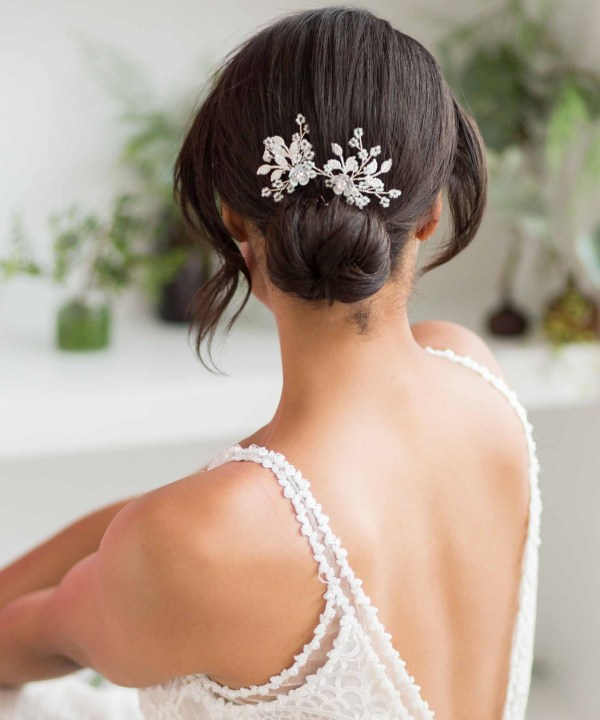 Briallen Silver Beaded Bridal Hair Pin