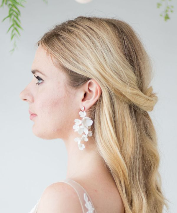 Isla Clay Flower Statement Bridal Earrings