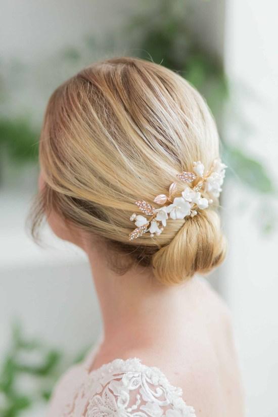 Vanessa Gold Ivory Wedding Hair Pin
