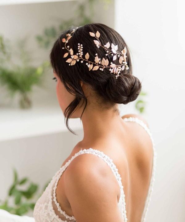 Bridal Back Headpiece Wedding Hair piece Bridal Hair clip Floral hair Vine Wedding Hair Accessory UK Gold Wedding Hair Vine
