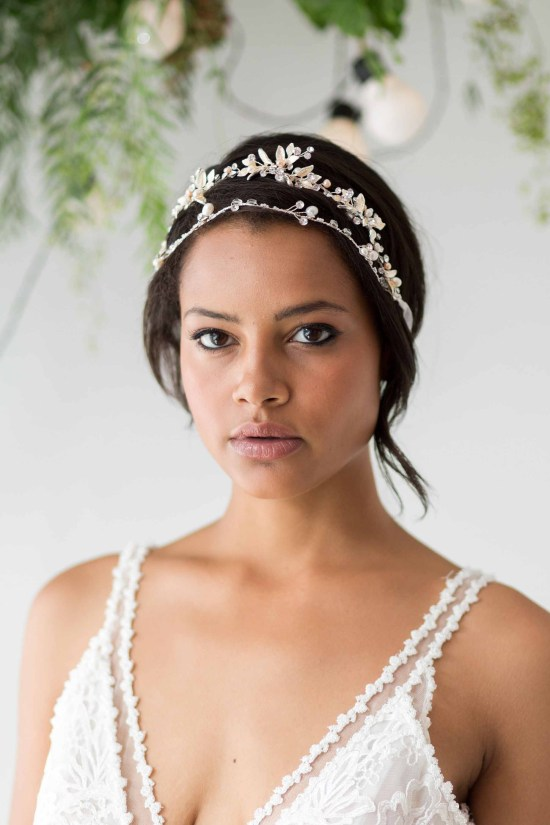 Rania Silver and Blush Pink Wedding Tiara