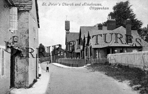 Chippenham, St Peter's Church and Almshouses c1900