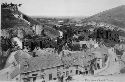 Corfe Castle, View from Church Tower c1900