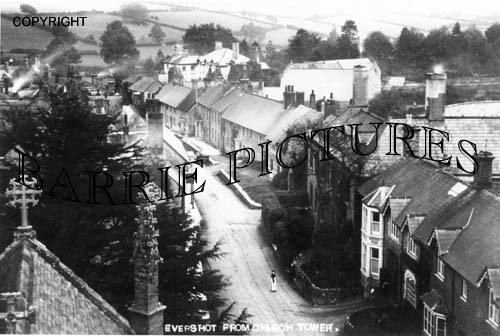 Evershot, from the Church Tower c1910