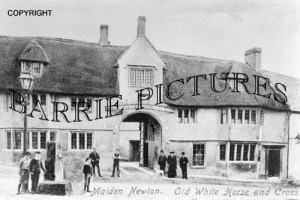 Maiden Newton, Old White Horse and Cross c1900
