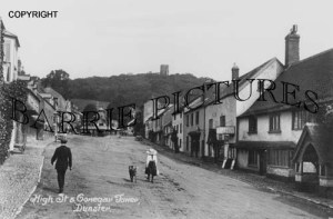 Dunster, High Street and Conegar Tower c1910