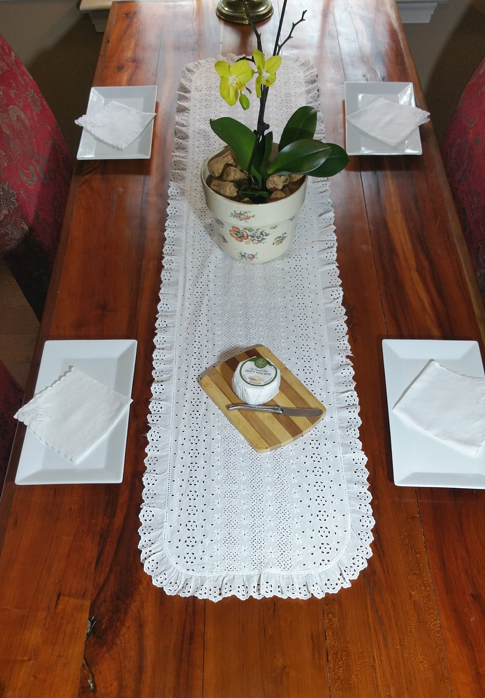 set of 2 vintage eyelet table runners dresser scarves
