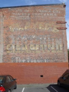 Old Chum tobacco sign, circa 1920, on the side of 532 Fisgard Street in Victoria's Chinatown.