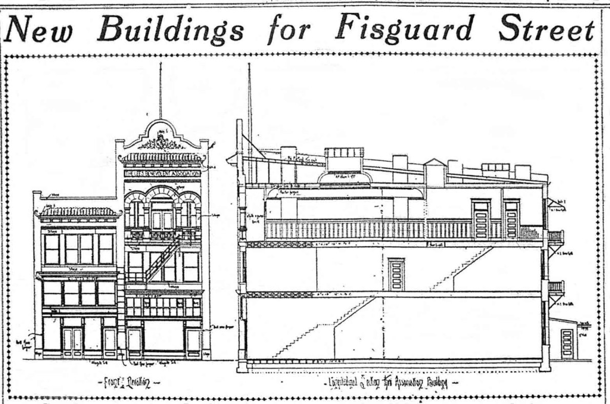 1910 architectural drawing of the Lee Benvolent Association buildings, now 612 Fisgard Street and 614 Fisgard Street