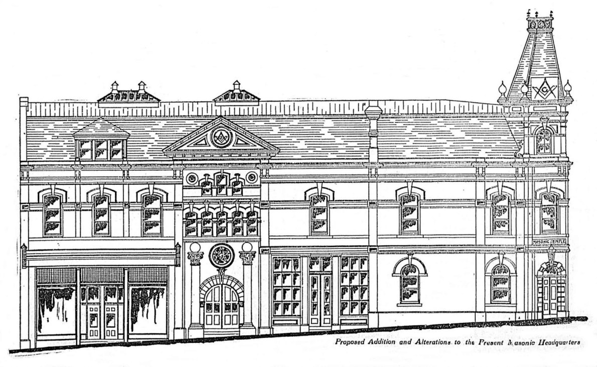 1909 architect's drawing of the Masonic Temple showing the 1909 additions and alterations (photo from Victoria Online Sightseeing Tours collection)