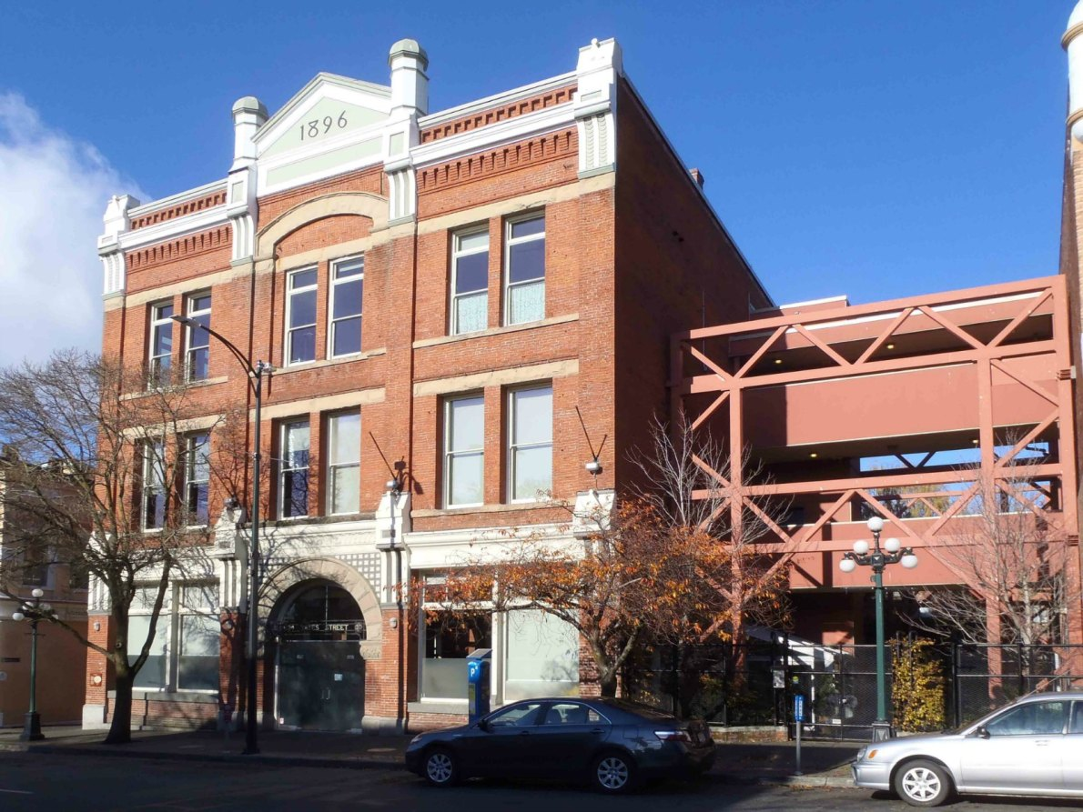 Leiser Building, 524 Yates Street. Built in 1896 as a warehouse for Simon Leiser's wholesale grocery business.