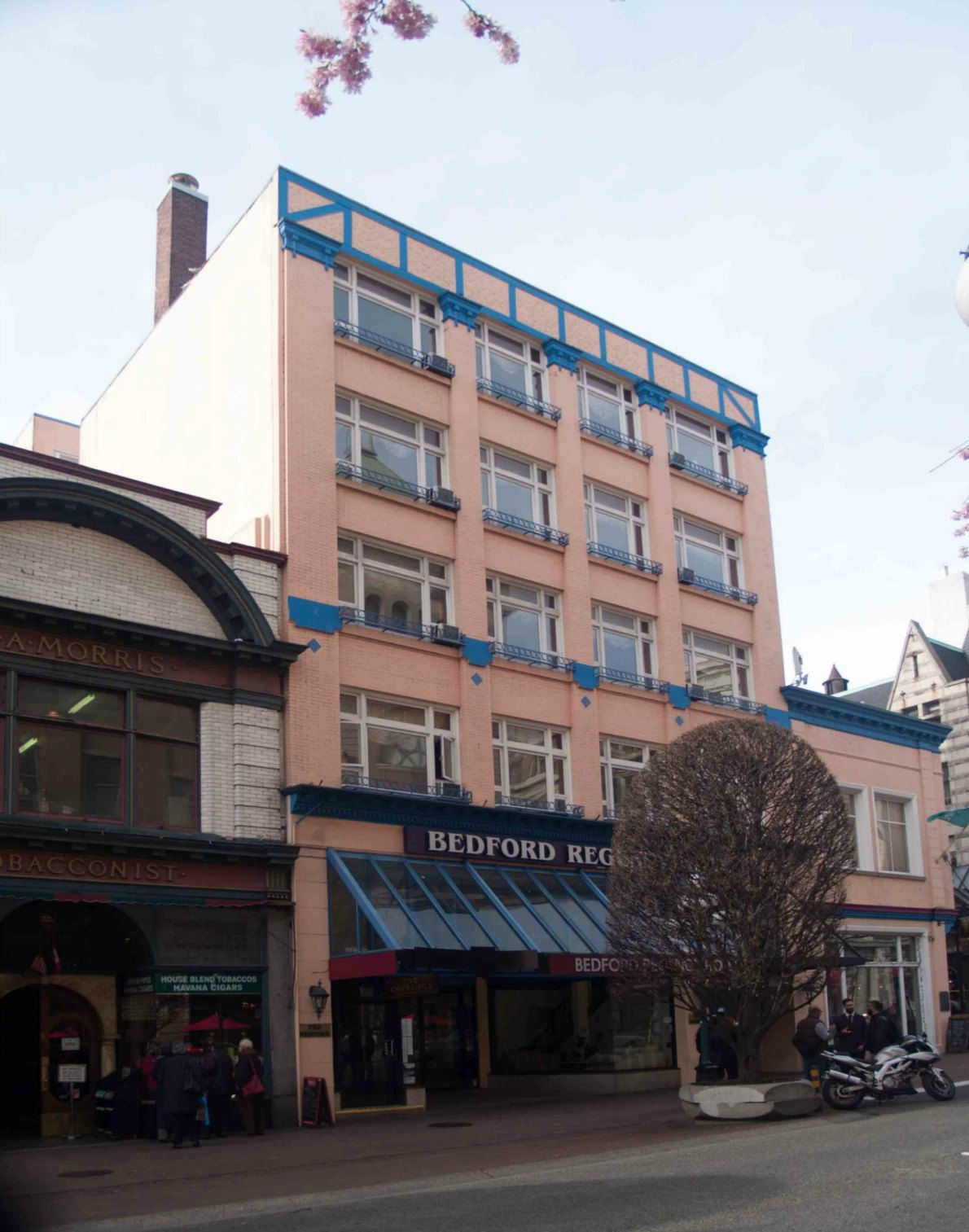 The Bedford Regency Hotel, 1140 Government Street, is in a building that was originally built by architect Thomas Hooper in 1910 for Hibben-Bone Stationers (photo by Victoria Online Sightseeing Tours)