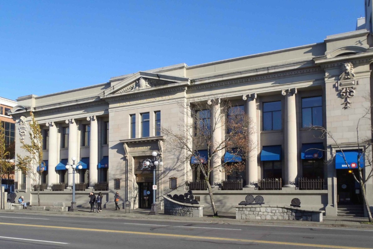Bank of Montreal, 1225 Douglas Street. Built in 1907 by architect Francis Rattenbury for the Merchants Bank of Canada