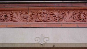 Decorative detail on Temple Building entrance, 525 Fort Street