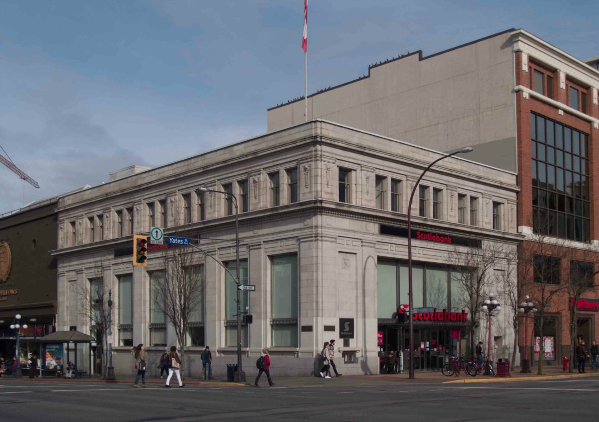 ScotiaBank at 702 Yates Street, built in 1923 with additions in 1963.