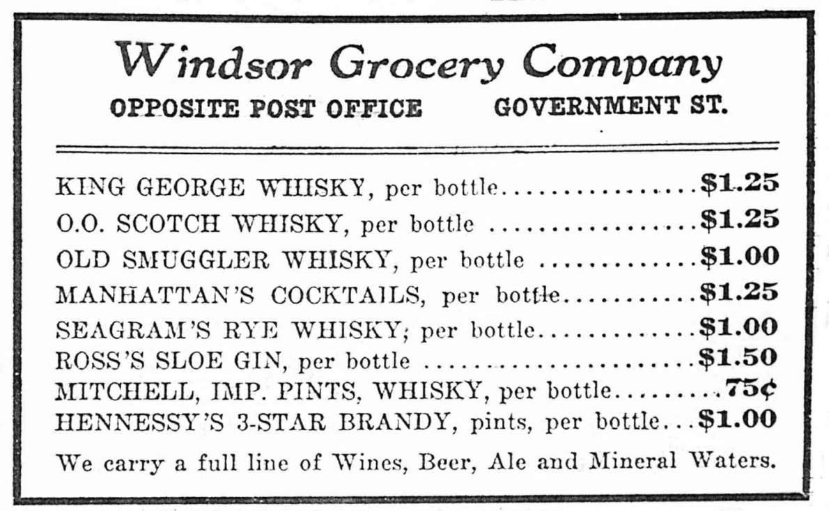 1912 advertisement for the Windsor Grocery, which was located in the Metropolitan Building
