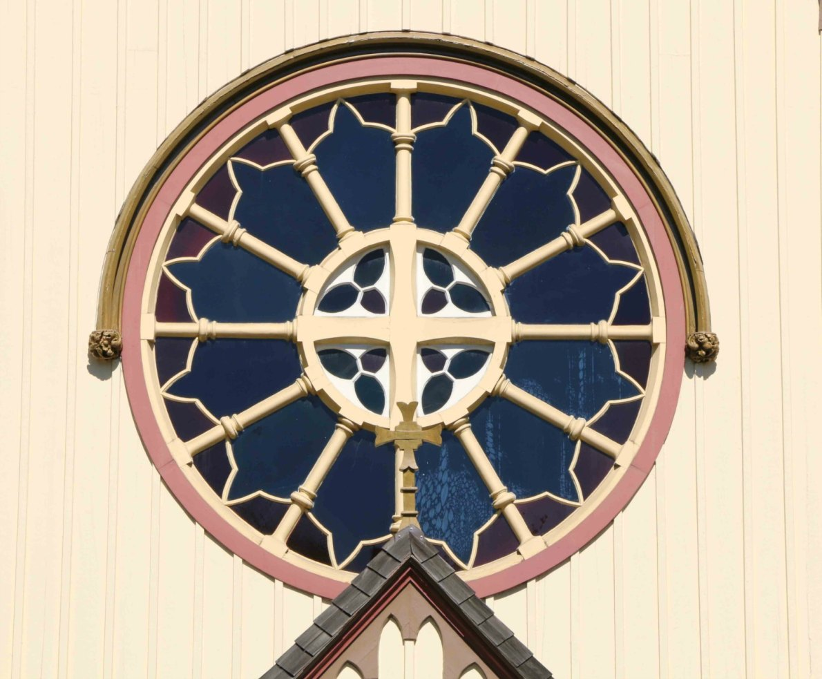 The original east facing rose window on the Church of Our Lord