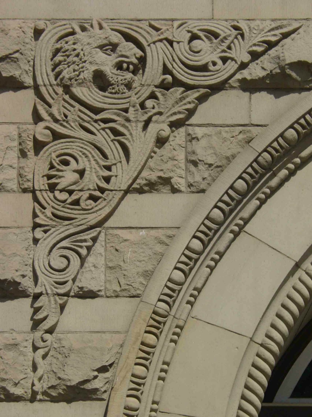 Exterior decorative detail on the Yates Street entrance of the former Carnegie Library, 794 Yates Street.