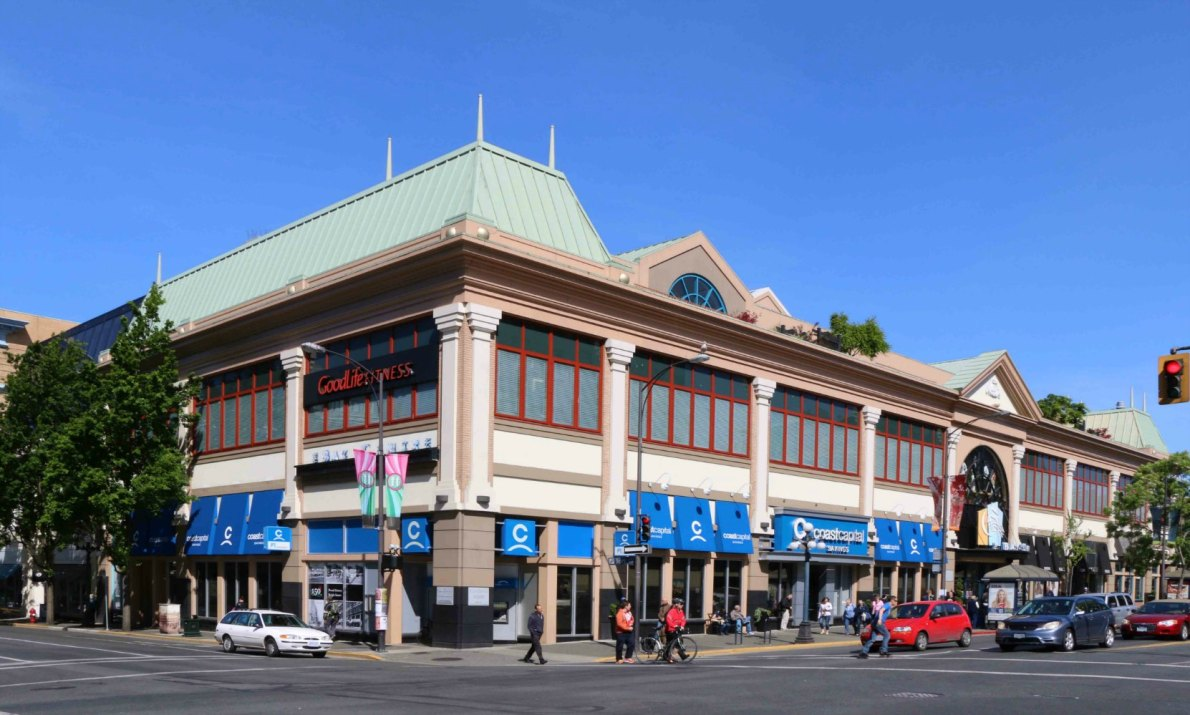 The Douglas Street entrance of the Bay Centre, 1150 Douglas Street (photo by Victoria Online Sightseeing Tours)