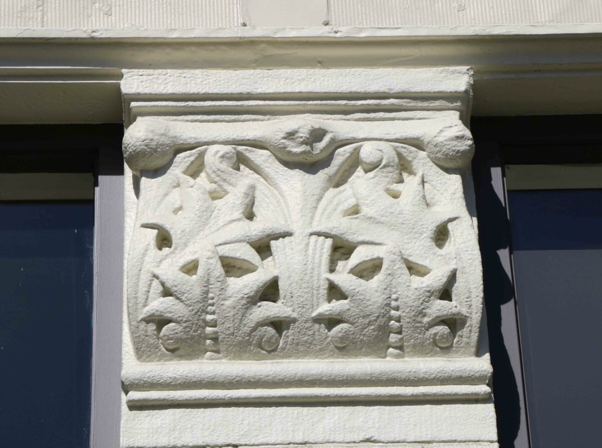 Original decorative architectural detail on the facade of 1312-1314 Government Street