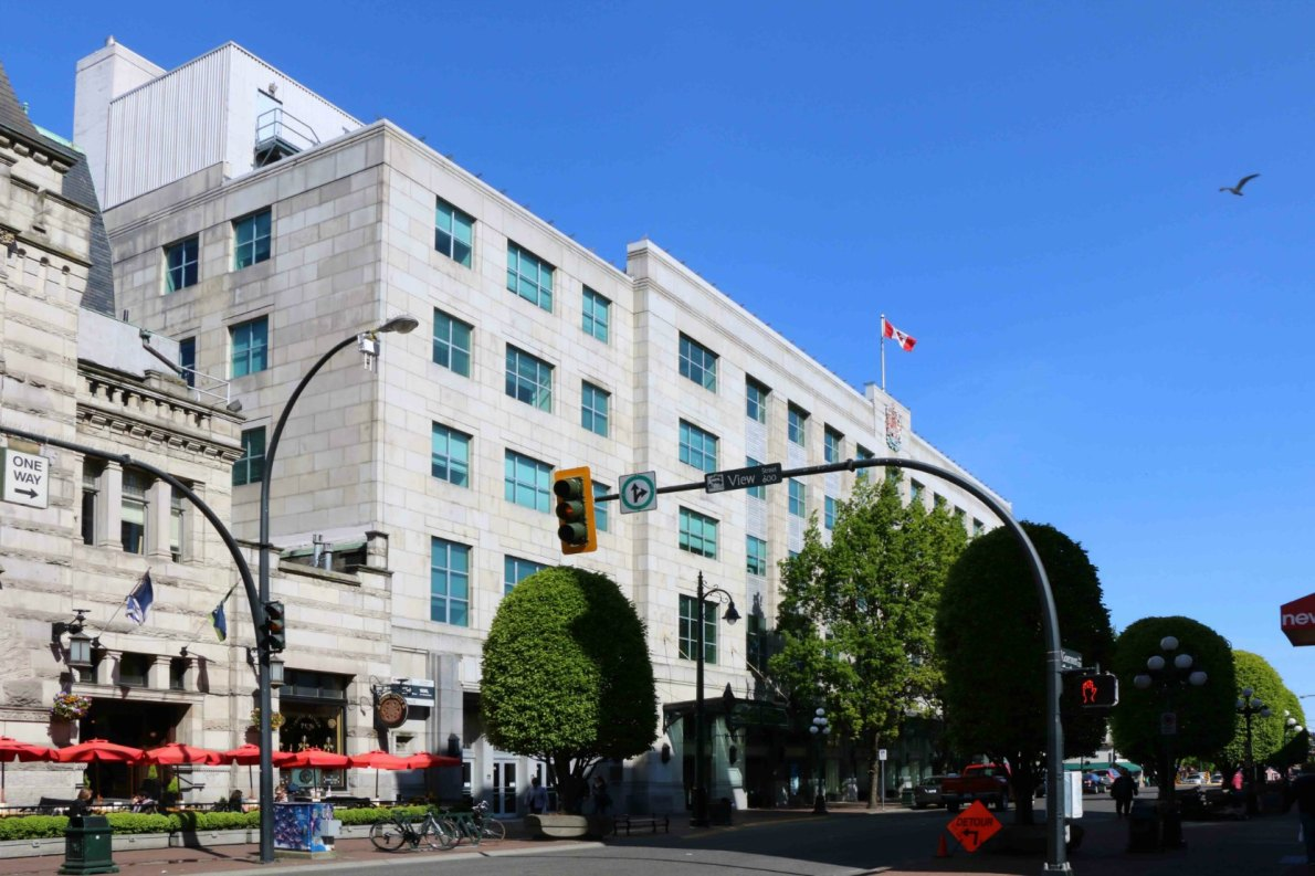 The Federal Building, 1230 Government Street, built in 1948-1952 by architects Percy Leonard James and Douglas James for the Government of Canada. (photo by Victoria Online Sightseeing Tours)