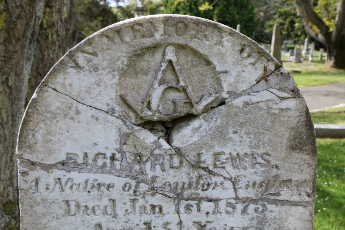 Vandalism damage to Richard Lewis gravestone has been repaired by the Old Cemeteries Society of Victoria
