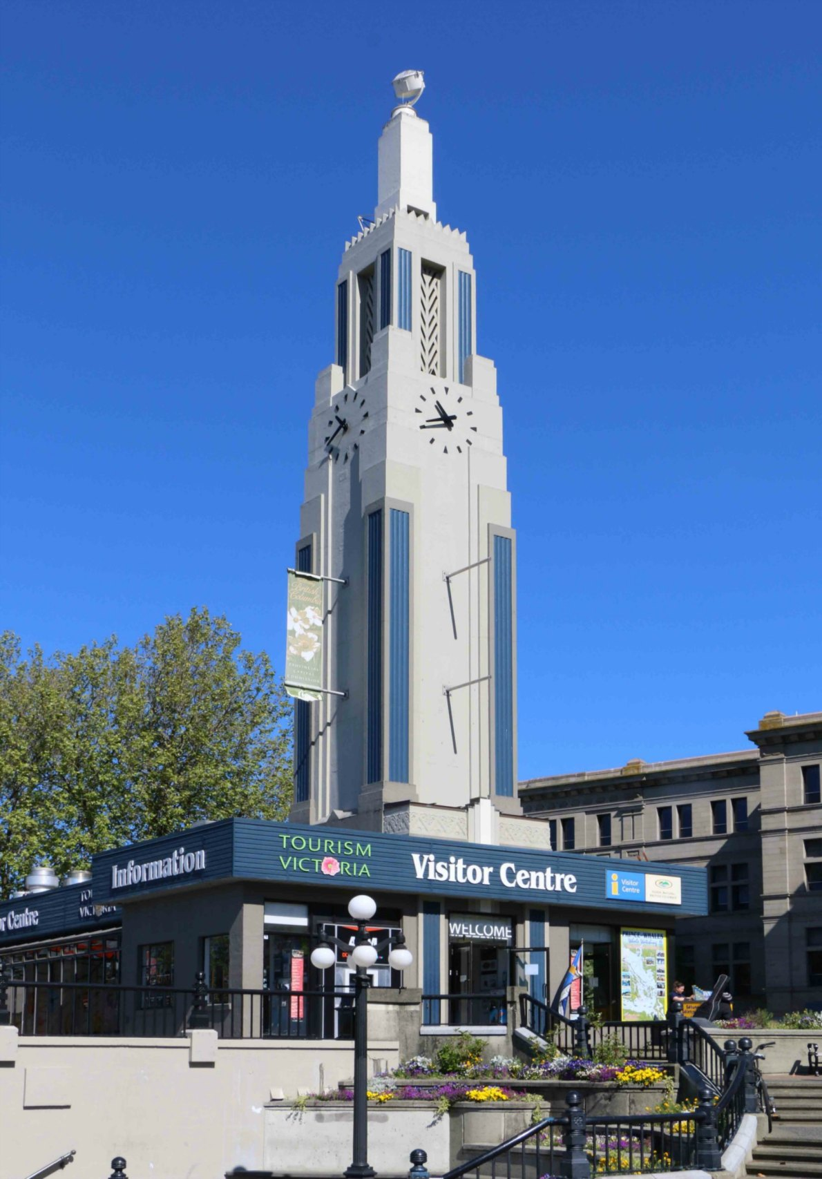 The Tourism Victoria Visitor Centre, 812 Wharf Street. This Art Deco building was originally built in 1931 by Imperial Oil as a service station. The tower still features a Sperry searchlight intended as a navigation beacon for aircraft.