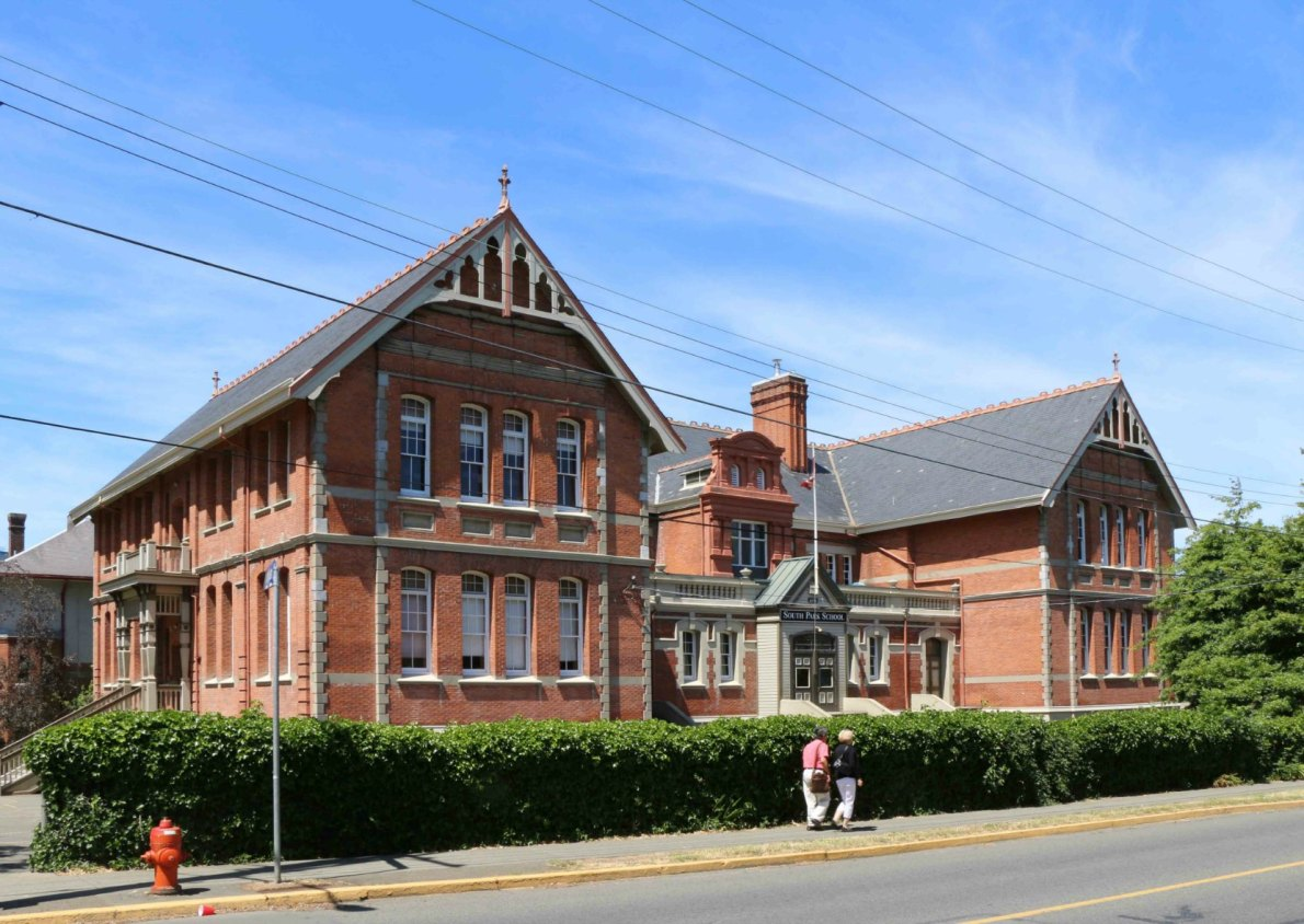 South Park School, 508 Douglas Street. Originally built in 1894 by architect William Ridgway Wilson. (photo by Victoria Online Sightseeing Tours)