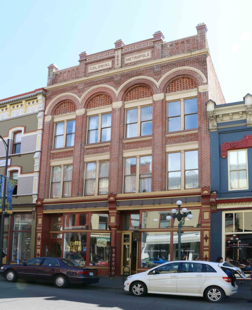 541-545 Johnson Street. Built in 1892 by architect John Teague as the Colonial Metropole Hotel. (photo by Victoria Online Sightseeing Tours)