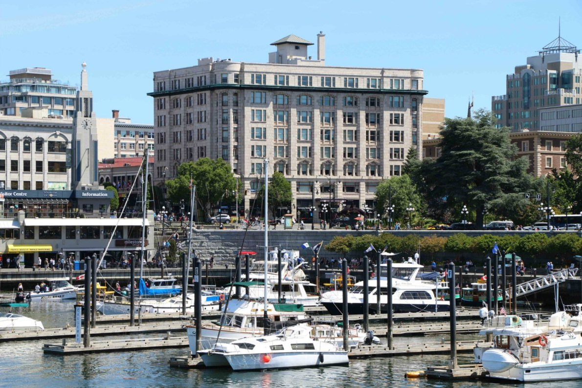 The Belmont Building and the Causeway, seen from the Steamship Terminal on Belleville Street